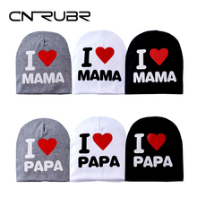 CN-RUBR Spring Summer Baby Hat Cotton Boy Girl Cap I LOVE PAPA MAMA Letter Printed Kids Hats Newborn Baby Cap For 1-3 Years