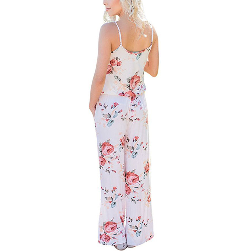 Spaghetti Strap Jumpsuit Women 2018 Summer Long Pants Floral Print Rompers Beach Casual Jumpsuits Sleeveless Sashes Playsuits 16