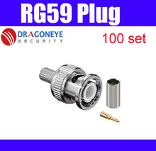 RG59 connector BNC male crimp plug coaxial cable rg59 plug BNC Connector male 3 in one crimp cctv accessories