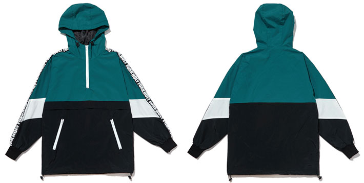 Patchwork Color Block Pullover Hooded Jackets 8