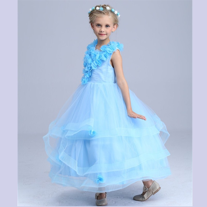 Christmas Presided Over Girls Dress Wedding Children Shows The Princess Dress Long Performance Purpl Dresses Light Blue Clothes <br>