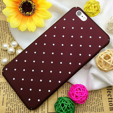 New Fashion Vintage Wine Red Wave Dots Phone Case For iPhone 6 6S Matte Scrub Plastic PC Back Cover Case For iPhone 6 6S 7 Plus