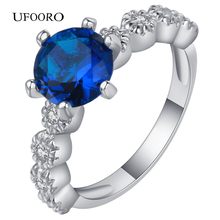 2017 Brand Blue Crystal Lace Design Silver Wedding Ring for Women Engagement Fashion Anniversary For Gift
