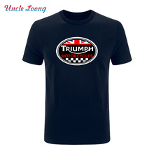 GREAT BRITAIN TRIUMPH MOTORCYCLE logo printing funny T-shirt 2017 Men Cotton Casual Short Sleeve fashion T Shirt(China)