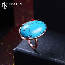 INALIS New Trendy Big Oval Natural Turquoises Stone Finger Rings for Women Black Gold/Rose Gold Color Vintage Ring Party Jewelry