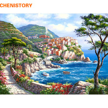 CHENISTORY The Mediterranean Sea Seascape DIY Painting By Numbers Modern Home Wall Art Picture For Unique Gift Artwork 40x50cm