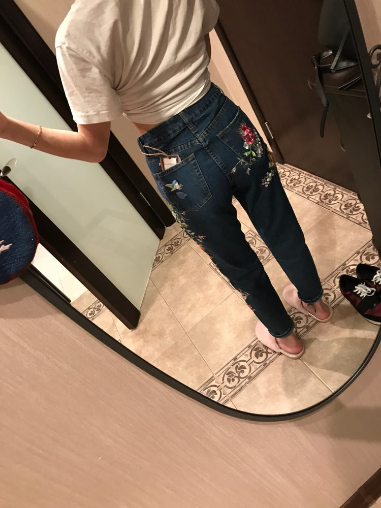 2018 Women's Three-dimensional 3D Heavy Bird Flower Embroidery High waist Slim Straight jeans Large yards (7)