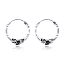 Gypsy Hippie Tribal Circle Hoop Earrings Handmade Boho Ethnic Vintage Silver Color Endless Small Earring For Women Jewelry(China)
