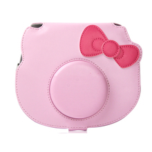 Pink Carry PU Leather Bag Case Cover with Shoulder Strap For Fujifilm Instax Mini Hello Kitty Instant Film Photo Camera(Hong Kong)