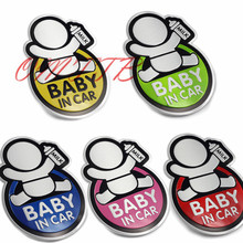 5 Color Lovely BABY IN CAR Car 3D Sticker Reflective Warning Decal Waterproof Window Vinyl Cover Blue Red Pink Green for all car(China)