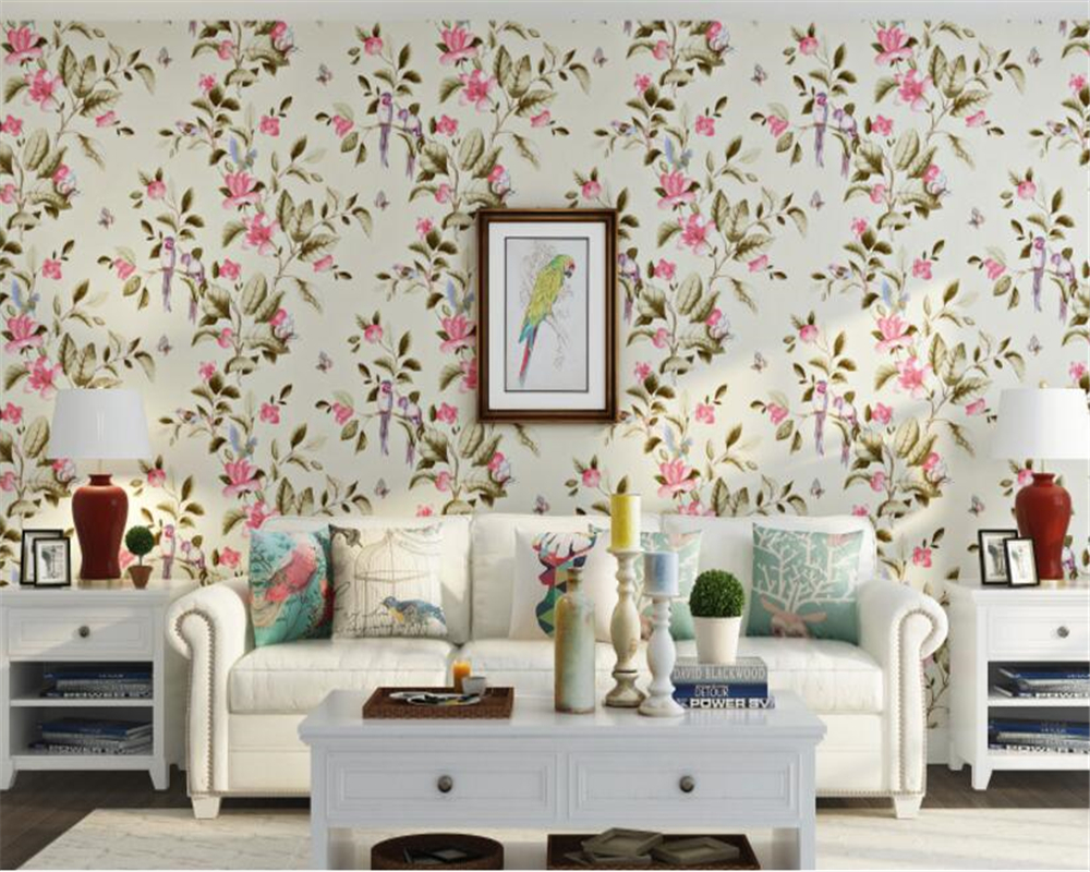 beibehang Papel de parede 3d wallpaper senior fashion nonwovens rustic butterfly bird 3D  wall paper living room background wall<br>