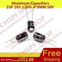 1LOT=50PCS Aluminum Capacitors 1uF 105 20% 4*5mm 50V 1000nF 1000000pF Diameter4mm