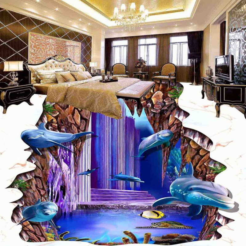Free shipping kitchen tea house decoration white marble dolphin non-slip waterproof floor wallpaper mural<br>