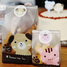50 Pcs Candy Cake Package Self-adhesive Plastic Bags Cute Cat Dog Print Gifts Bags Christmas Cookie Packaging Biscuits Bags