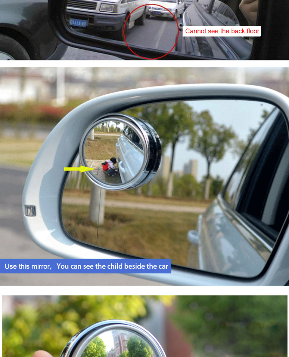 HD Car Blind Spot Mirror 360 Degree Adjustable Wide Angle Horizon Round Convex Auto Side Mirror Vehicle Rearview Safe Driving (18)