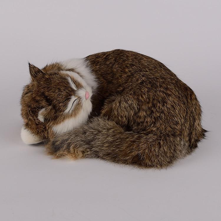 simulation sleeping cat lifelike khaki cat model gift 25x20x11cm<br>