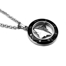HIP Punk Gothic Black Titanium Stainless Steel Round Necklace Maple Compass Pendants Necklaces for Men Jewelry Gift