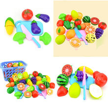pudcoco Babies Funny Lovely Fruits Model Cutting Set Kids Pretend Role Play Kitchen Fruit Vegetable Food Cutting Toys(China)