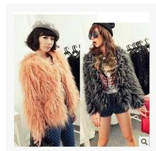 Womens Spring And Autumn Mix Ostrich Leather Grass Hairy Coat Female Faux Fur Coats Black/Pink Fur Jacket Ladies Clothes J1634(China)