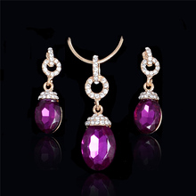 Atreus 2017 jewelry sets african bridal gold Color Purple crystal necklace earrings wedding women fashion jewellery set