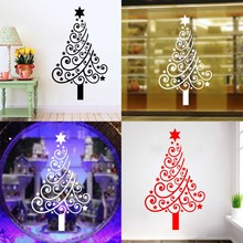 Happy Christmas Window Stickers Glass Wall Stickers Christmas Tree Waterproof Wallpaper Decor reative carved wall stickers(China)