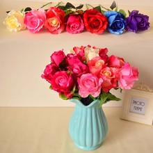 Silk rose artificial flower home garden tabletop party wedding decorations red blue pink white purple color diy gift fake flower