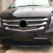 Exterior ABS Chromed Front Center Radiator Grille Mouldings Mercedes Vito 2014-2017 W447 - Auto Trim Zone store