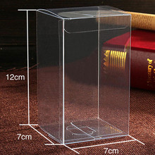 40Pcs/Lot 7*7*12cm Pvc Box Party Supplies Small Clear Folding Plastic PVC Pack Box Gift Transparent Packaging Box For Christmas
