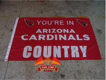 Arizona Cardinals with red background flag, football soccer club banner,90*150 CM polyster basterball flag(China)