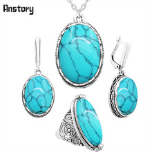 Oval Natural Stone Jewelry Set Choker Necklace Earrings Rings For Women Hollow Flower Pendant Stainless Steel Chain(China)