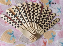 Eco-friendly disposable tableware disposable wooden cutlery black Polka Dot Design jk23(China)