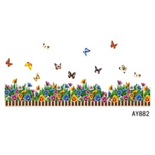 Flower and Butterfly Pattern Wall Stickers Home Decor for Kids Rooms Skirting Line Wall Sticker Mural 2 Style E#CH