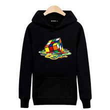 2016 Latest Design Cartoon Magic Cube Fashion Hooded Sweatshirt Sudaderas Hombre Black/Gray 4XL Big Size Cotton Hoodies For Men(China)