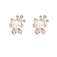 Cute Children Crystal Hello Kitty Cat Earrings for Girls Kids Gold Color Enamel Crown Flower Dancing Hello Kitty Jewelry