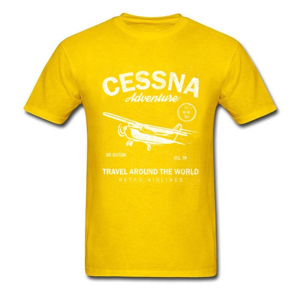 Cessna Adventure Pure Cotton Adult Short Sleeve Tops T Shirt Casual Summer/Autumn T-Shirt Printed Tops & Tees Fitted Crewneck Cessna Adventure yellow
