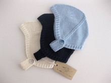 Hand knitted blue, navy, cream baby boy girl retro vintage style helmet hat, ready to ship