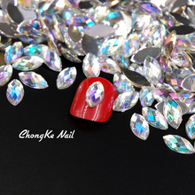 Top Quality Nail Crystal Clear AB Horse Eye Design Acrylic Glitter Rhinestone Manicure Tips For Charms 3D Nail Art Decorations(China)