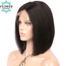 FlowerSeason Brazilian Short Bob Lace Front Human Hair Wigs Silky Straight Glueless Cut Short Wig for Black Women With Baby Hair