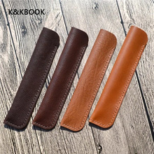 K&KBook Genuine Cowhide Leather Pen Bag Fountain Pen Ballpoint Holder High Quality Pen Pouch Case Gift Kids Rewarding