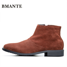 Real Leather Luxury China Designer Casual Brand Male Cow Suede Boot Social Formal chukka Shoe Chelsea Office Footwear for Men de(China)