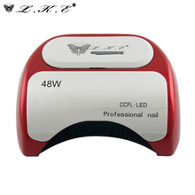 LKE Professional 48W CCFL LED UV Lamp Light Nail Dryer with Automatic Induction 10s 20s 30s For Nail Polish Gel Art Tools Red