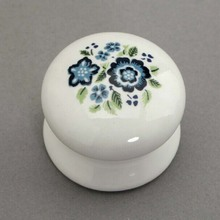 Drawer knob white and blue porcelain kitchen cabinet  knobs rural ceramic dresser cupboard door pulls country side handles
