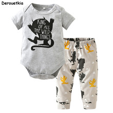 Baby Boy Clothes Cotton Little Monster Bodysuit + Pants Newborn Baby Girl Clothing Sets Infant 2pcs Suit Toddler Outfits(China)