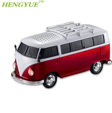 HENGYUE sale 1pcs/lot WS-266 colorful mini speaker car shape mini bus speaker sound box MP3++U disk+TF+FM function