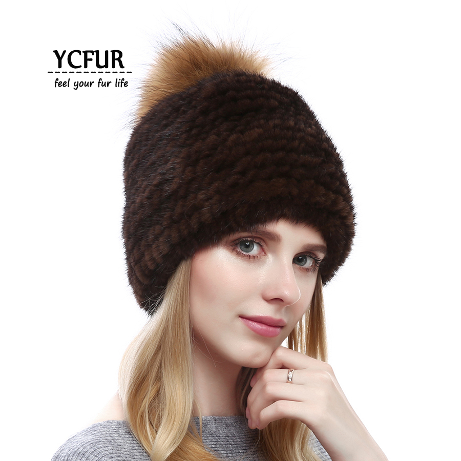 YCFUR Winter Womens Hats Caps Warm Knit Real Mink Fur Beanies Hats With Raccoon Dog Fur Pompom Caps For Women Mink Hat FemaleÎäåæäà è àêñåññóàðû<br><br>