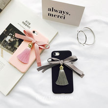 Luxury Bowknot Ribbon Tassel Gem pearl Case For iphone 6 6s 7 6plus 6splus 7 Plus soft tpu Phone Case Coque Fundas