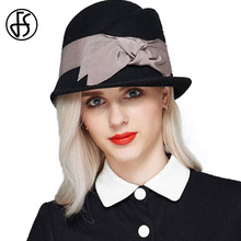 100% Wool Felt Hat Winter Fedora For Ladies 2017 Vintage Women Church Hats Black/Red Elegant Bowknot Kentucky Derby Hats