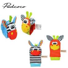 2017 New A Pair Baby Girl Boy Infant Toy Soft Handbells Hand Wrist Strap Rattles/Animal Socks Foot Finders Developmental Toys(China)