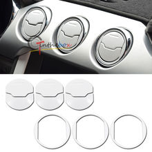 6PCS White Brushed Air Vent Nozzle Bezel Covers for 2015-up Mustang Ford GT V6