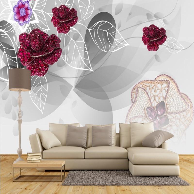 Free Shipping Noble gorgeous purple European flowers 3d stereo TV backdrop living room lobby bedroom corridor wallpaper mural<br><br>Aliexpress